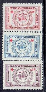 Cambodia, Scott #B8-B10; Red Cross, MH