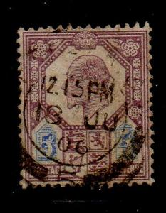 Great Brirain Sc 134 1902 5d lilac & ultra Edward VII stamp used
