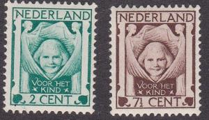 Netherlands # B6-7, Charity Protecting Child, Hinged, 1/3 Cat