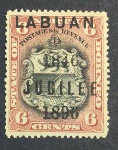 MOMEN: LABUAN SG #87 1896 MINT OG H £48 LOT #6930