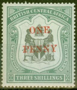 B.C.A Nyasaland 1897 1d on 3s Black & Sea-Green SG53 Fine Lightly Mtd Mint