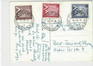 Berlin 1957 International Building Exhibition Multiple Cancels+Stamps Card 24298