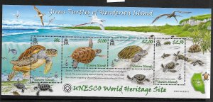 PITCAIRN ISLANDS, 681, MNH, S.S. OF 4, GREEN TURTLES OF HENDERSON ISLAND