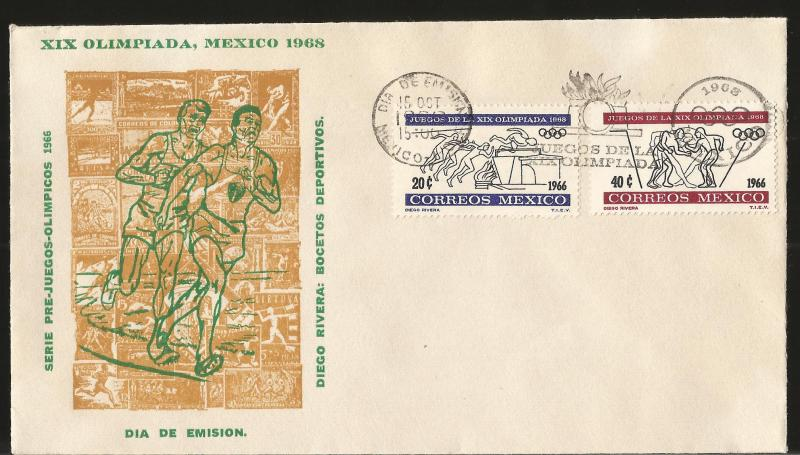 RA) 1966 MEXICO, PREOLIMPICAL SERIES, RUNNERS, BOOKS DIEGO RIVERA, OLYMPIC