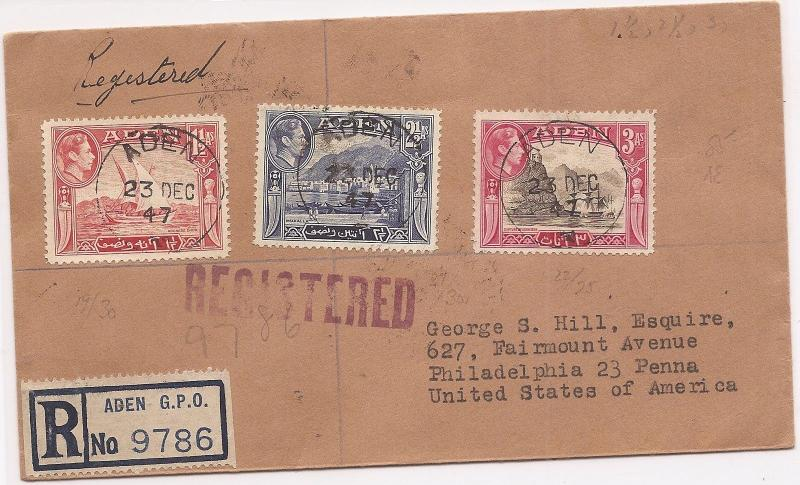 Aden 1947 Registerered cover to USA (bah)