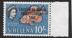TRISTAN DA CUNHA SG67 1963 10/- ORANGE-RED BLACK & BLUE HNH