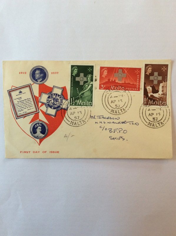 1957 George Cross First day cover. Postmark Valletta to BFPO HMS Walkerton