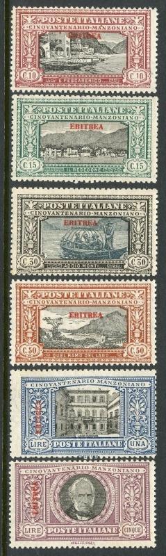 ITALIAN COLONIES ERITREA MANZONI ISSUE  SCOTT#75/80  MINT LH ORIGINAL GUM