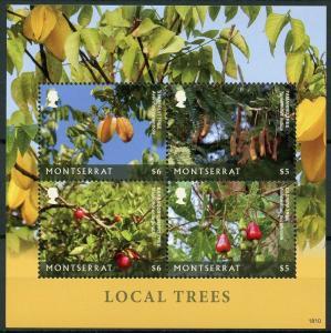 Montserrat 2019 MNH Local Trees Starfruit Tamarind Tree 4v M/S Nature Stamps