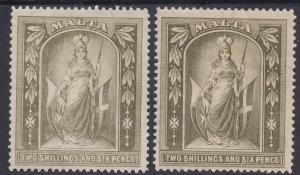 MALTA 1914 FIGURE 2/6 - BOTH SHADES WMK MULTI CROWN CA