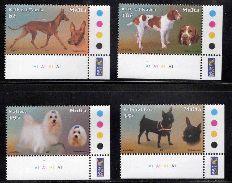 MALTA  Scott 1067-1070 MNH** 2001 Dog set
