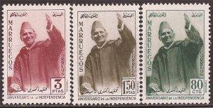 Morocco - Northern Zone 1960 Sultan Mohammed V - 3 Stamp Set MNH #9-11