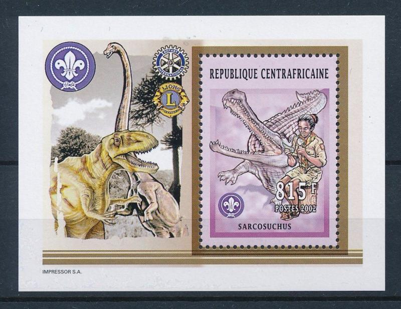 [26828] Central African Republic 2002 Pre Historic Animals Dinosaurs MNH  Sheet