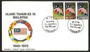 Malaysia SC#103-105 National Independence 10th Anniversary (1973) FDC