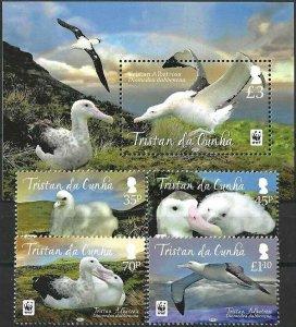 2013 Tristan da Cunha WWF, Birds, Uccelli, Oiseaux, complete set+Sheet VF/MNH!