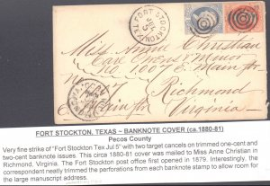 Pecos County Fort Stockton Circa 1880 ( Postal History ), 1880