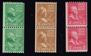 US STAMP 839-41 1-2¢ Washington 1939 Presidential Series Coil MNH PAIR LOT