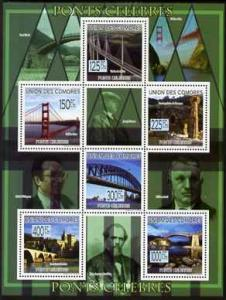 Comoro Islands 2009 Famous Bridges perf sheetlet containi...