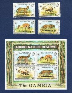 GAMBIA - Scott 341-344 LH & 344a FVF MNH S/S - Serval Cat, Abuko Nature Reserve