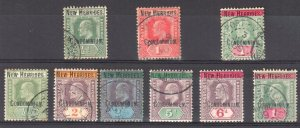 New Hebrides #1 to 9, USED CDS -- 1908-09 Edward VII
