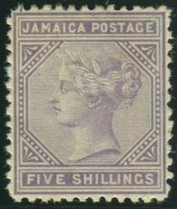 JAMAICA-1875 5/- Lilac.  A mounted mint example Sg 15