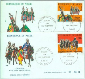 86324 - NIGER - POSTAL HISTORY - Set of 2  FDC COVERS 1977 - Ethnic types