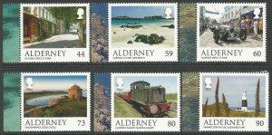Alderney 2017 MNH Scenes Castles Lighthouses Trains Cars 6v Set Tourism Stamps