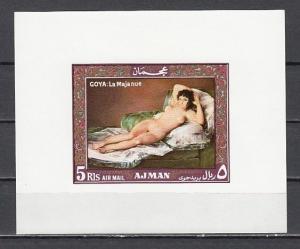 Ajman, Mi cat. 440, BL120. Naked Maja Painting as a s/sheet.