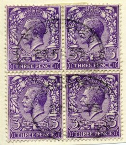 Great Britain Sc #164 Used Block Of Four George V Of Great Britain Very Fine.