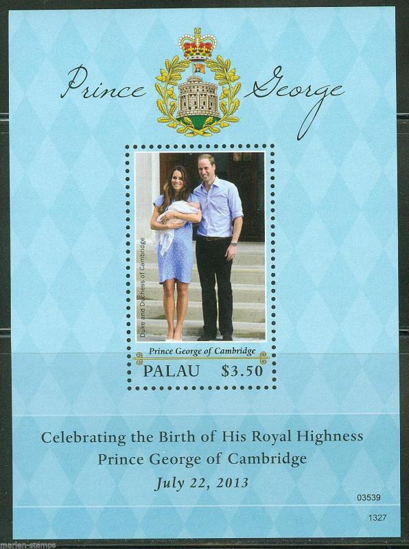 PALAU  2013 BIRTH OF PRINCE GEORGE WITH KATE & PRINCE WILLIAM SOUVENIR SHEET