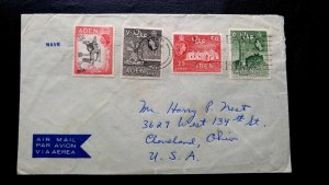 RARE ADEN 1953 MULTIPLE STAMPS ON SHIP COVER WITH HIGH VALUE STAMPS TO USA UNIQU