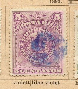 Costa Rica 1892 Early Issue Fine Used 5c. NW-09200