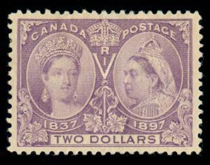 MOMEN: CANADA STAMPS #62 $2 JUBILEE MINT OG H PSE GRADED CERT XF-90