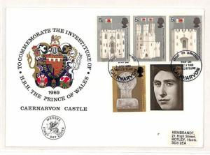GB WALES 1965 FDC *Investiture* Caernarvon REMBRANDT Label First Day Cover GW150