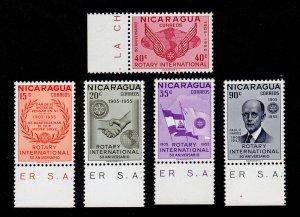 NICARAGUA SCOTT #762-766 WITH SELVAGE - ROTARY INTERNATIONAL ANNIVERSARY MNH-OG