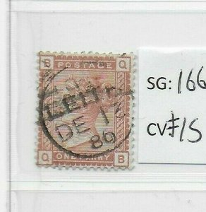 GB QV SG166 1d Venetian Fine Used stamp letter QB. CDS Cat £15 (SP16)