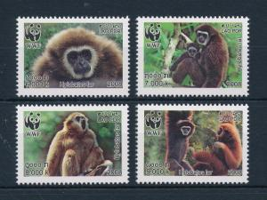 [54071] Laos 2008 Wild animals Mammals WWF Monkeys MNH