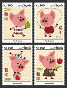 Z08 IMPERF ANG190102a ANGOLA 2019 Year of Pig MNH ** Postfrisch