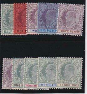 Lagos 1894-95 SC 50-59 LH,MNH