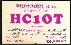 QSL QSO RADIO CARD HC1OT,Pedro Katz,1987, Ecuador, S.A.,Quito, Ecuador(Q2721)
