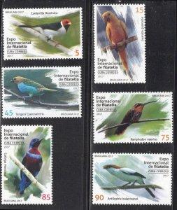 CUBA Sc# 5993-5999  BIRDS BIRDS BIRDS Cpl set of 6 stamps 2017  MNH mint