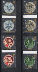 Great Britain Sc 1285-81989 Microscopy gutter pairs stamp set mint NH