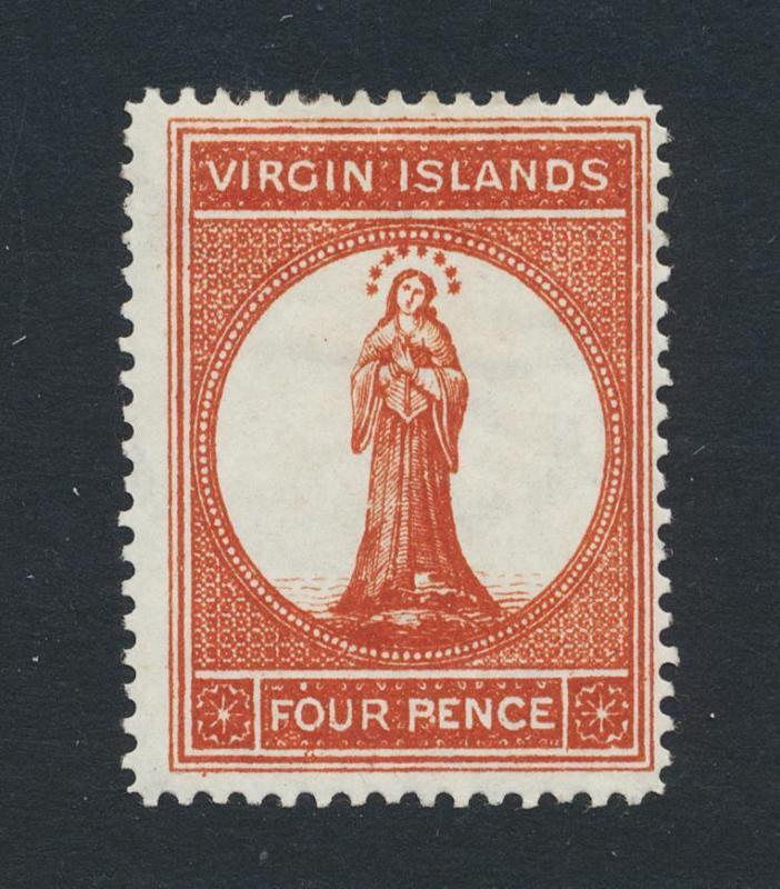 BRITISH VIRGIN IS 1887-9, 4d BROWN RED, VF MINT SG#37 (SEE BELOW)