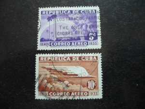 Stamps - Cuba - Scott# C22-C23 - Used Set of 2 Stamps