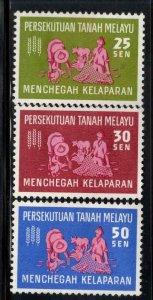 MALAYA Federation Scott111-113 MNH** Freedom From Hunger set, Disturbed Gumset