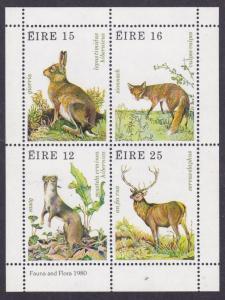 Ireland 1980 Miniature Sheet of Four Flora & fauna Animals Fox Hare Deer VF/NH