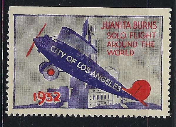 VEGAS 1932 Around The World Airplane Flight Promotional Poster Stamp (CQ119)