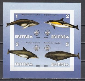 Eritrea, 2001 Cinderella issue. Whales & Dolphins on an IMPERF sheet of 4. ^