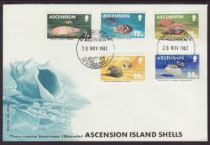 Ascension 340-344 Seashells 1983 U/A FDC