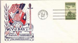 1945, V-J Day, Washington, DC, Knapp/Fleetwood Cachet, Unaddressed (M629)